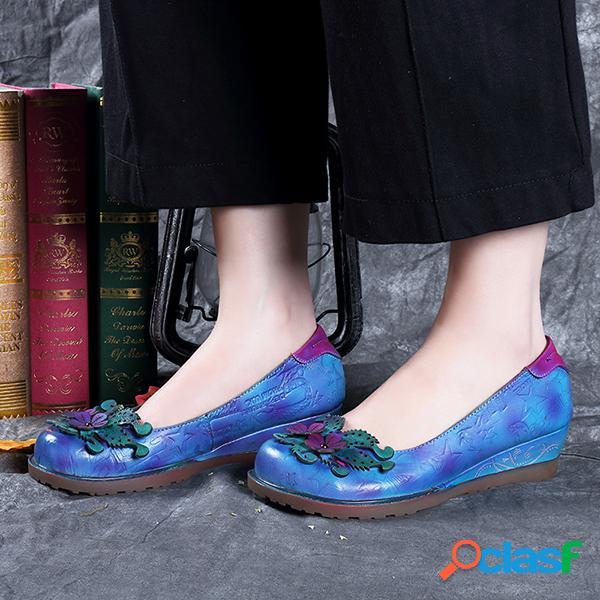 SOCOFY Zapatos estampados de cuero de tacón bajo