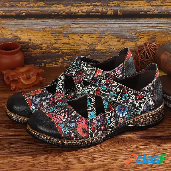SOCOFY Zapatos planos planos de costura con tiras ajustables