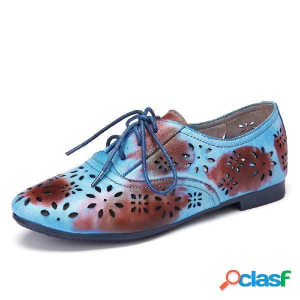 SOCOFY vendimia Zapatos planos azules con cordones y corte