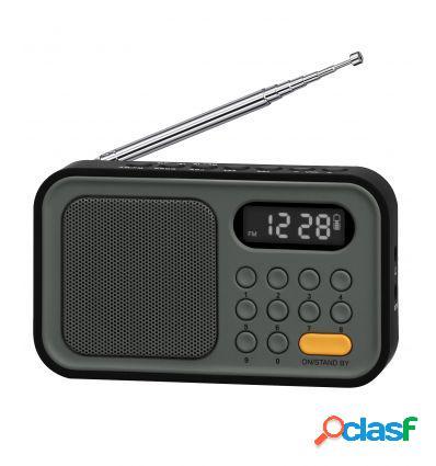 SYTECH SY1648NG RADIO AM/FM CON RELOJ Y ALARMA NEGRO