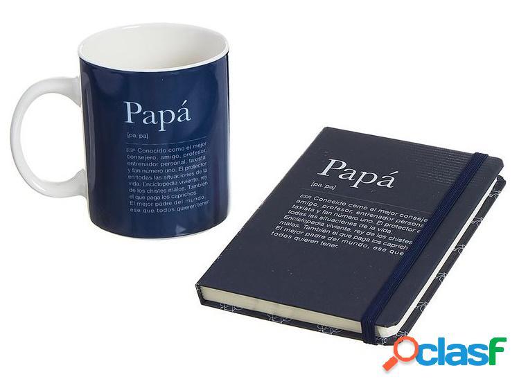 Set libreta y taza con mensaje papa