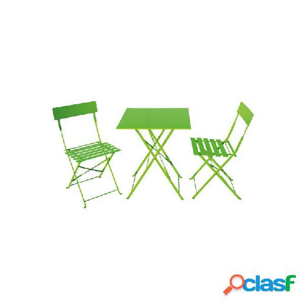 Set mesa terraza de hierro con 2 sillas plegables pistacho