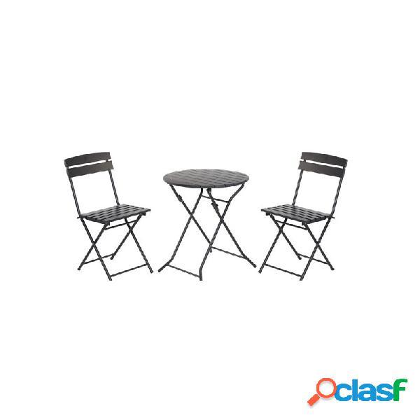 Set mesa terraza plegable con 2 sillas plegables negro