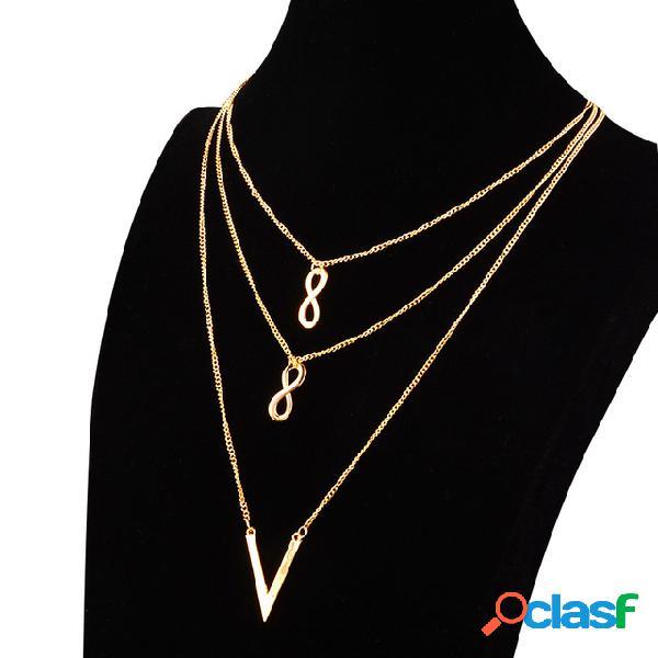 Símbolo hueco infinito de moda Colgante Collar de metal en