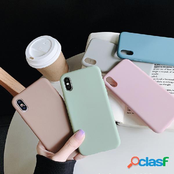 Soft TPU Simple Color sólido iPhone Teléfono Shell