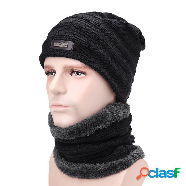 Sombrero de punto de lana de terciopelo de hombre bufanda de