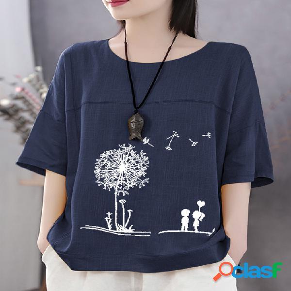 Summer Print Flower Casual camiseta de algodón de manga