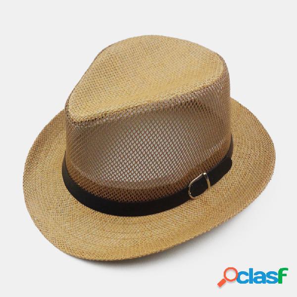 Sun transpirable Sombrero Straw Jazz Top Sombrero Mesh
