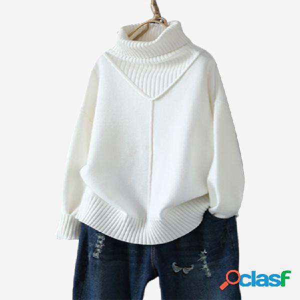 Suéter casual de manga larga con cuello alto suelto de