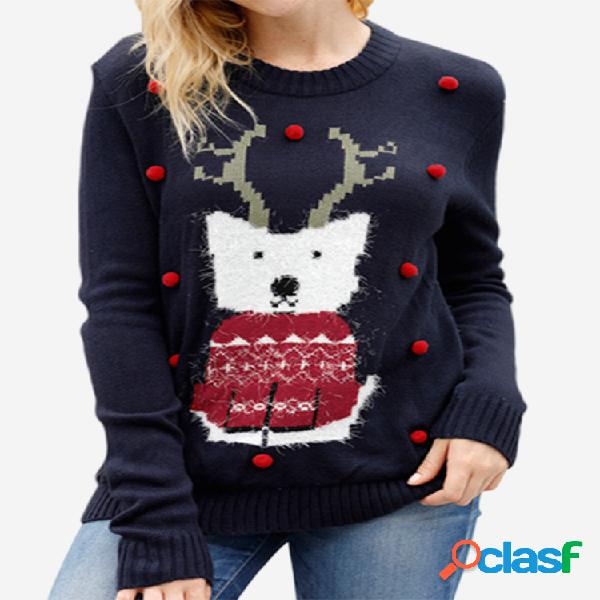 Suéter de alce de dibujos animados de Navidad redondo