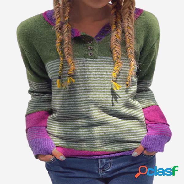 Suéter de manga larga con botones a rayas en contraste para