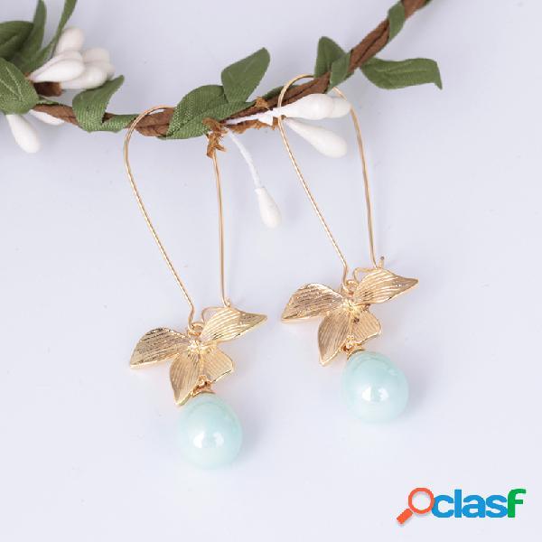 Sweet Oreja Drop Pendientes Gold Flower Oval Perla