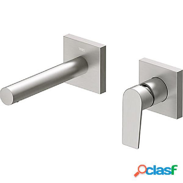 TRES - Grifo pared para lavabo acero recto de 2 centros