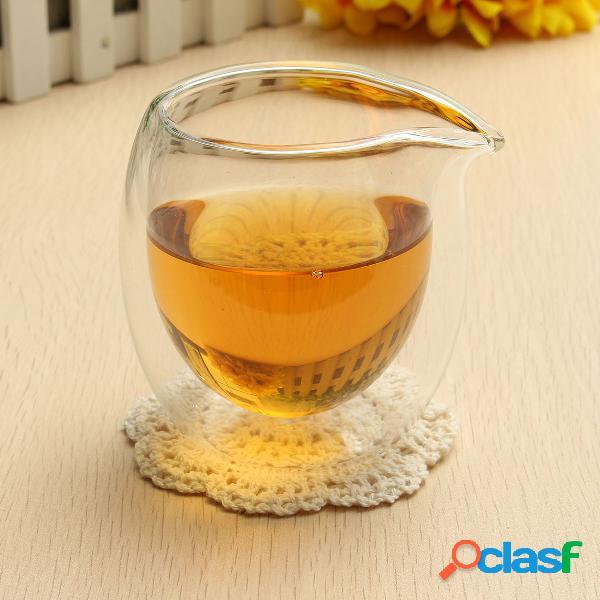 Taza de té de cristal de la jarra del té de la capa doble