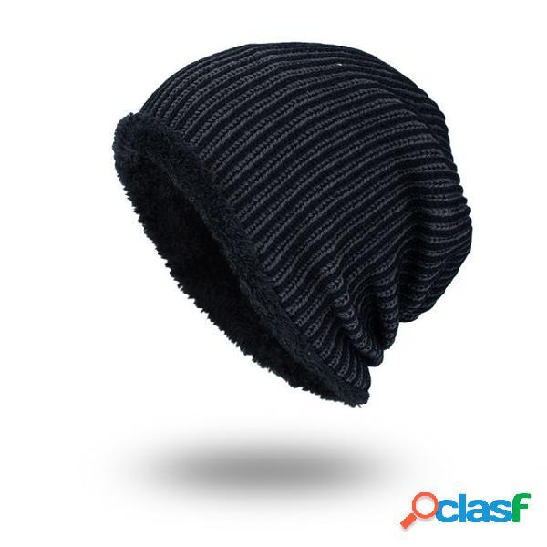 Tide Knit Wool Sombrero Gorro de franja vertical de color