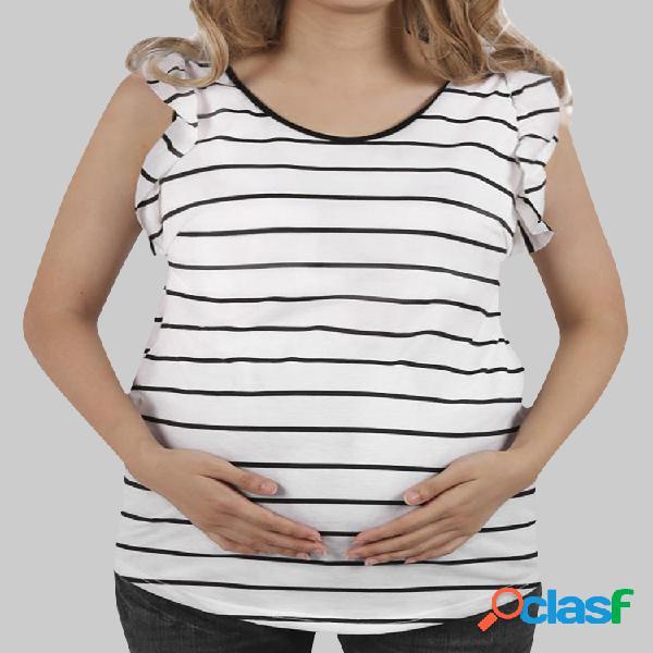 Tops de mangas con volantes y rayas de maternidad para