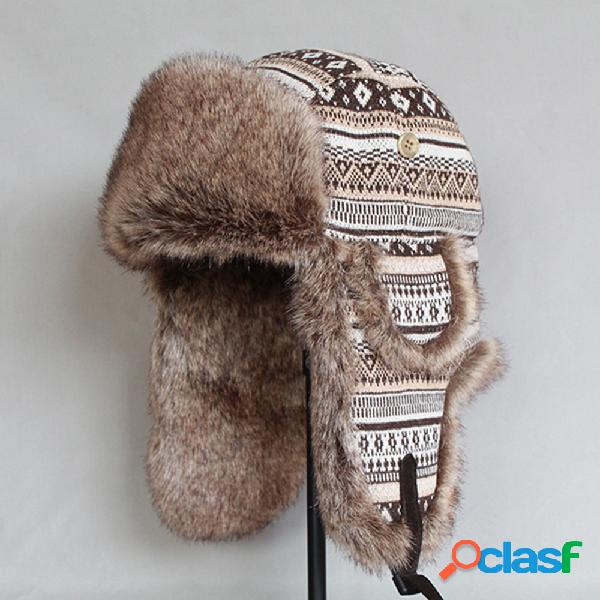 Trampero Sombrero Retro Impreso Invierno Ruso Sombrero