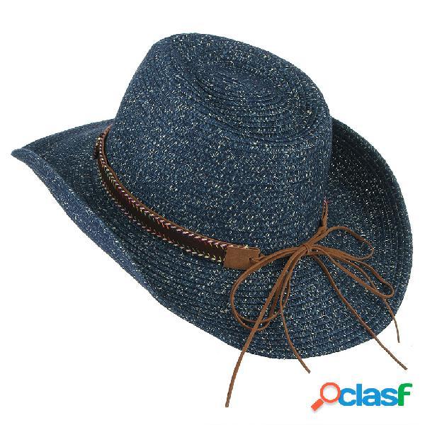 Transpirable UV Protección Straw Sombrero Cubo ancho de ala