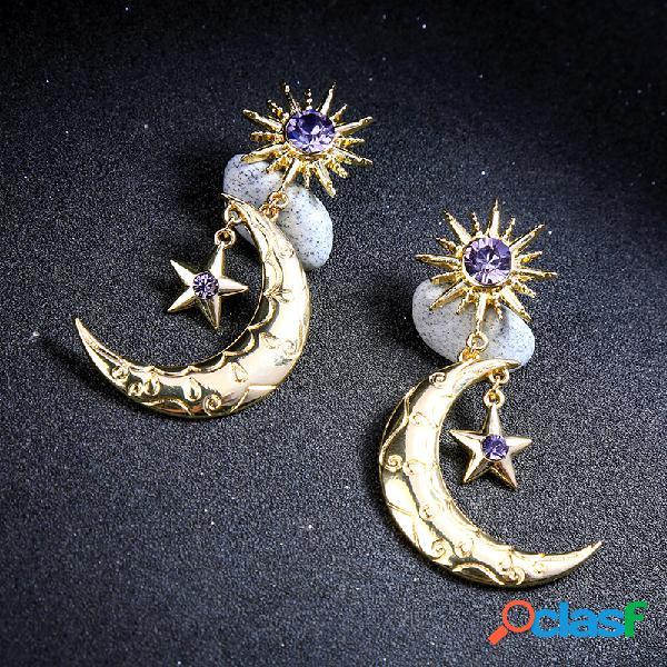 Trendy Sun Moon Star Pendientes gota grande púrpura