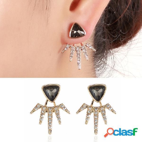 Triángulo negro de moda Pendientes Diamante lleno