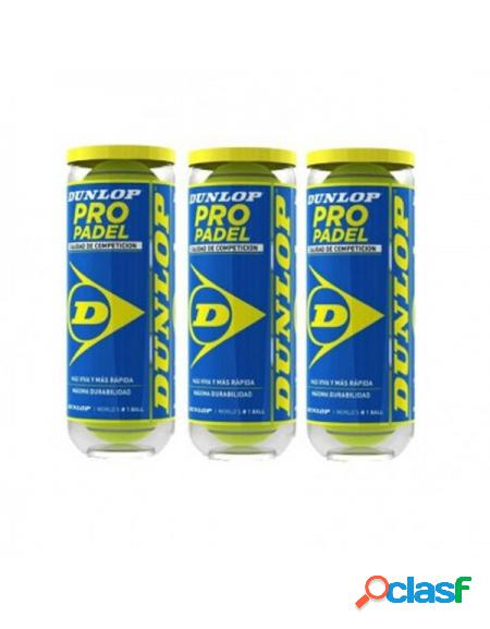 Tripack Bolas Dunlop Pro Padel - Pelotas de padel