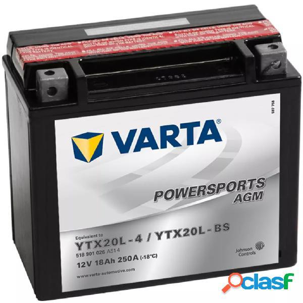 Varta Batería De Motocicleta Powersports Agm Ytx20L-4 /
