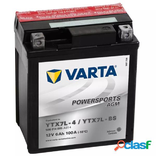 Varta Batería para motocicleta AGM, 12 V 6 Ah YTX7L-4 /