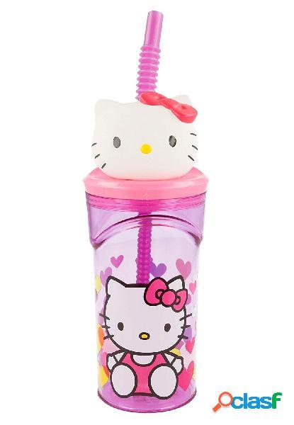 Vaso con pajita 3D Hello Kitty