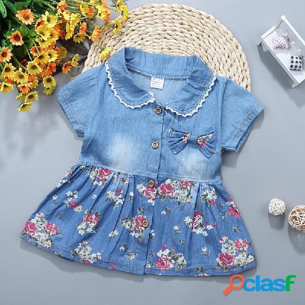 Vestido de falda de polo con estampado floral de mezclilla