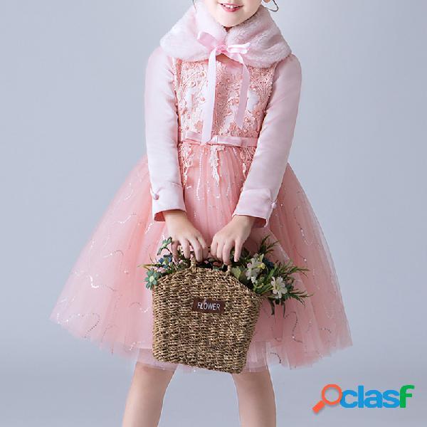 Vestidos de flores para niños Vestido de lujo + Cuello de