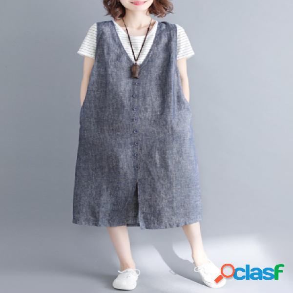 Vestidos de mameluco sin mangas con escote en V sin mangas
