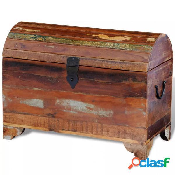 VidaXL - Baúl de almacenamiento de madera reciclada maciza