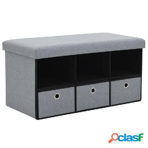 VidaXL - Banco almacenamiento plegable lino 76x38x38cm gris