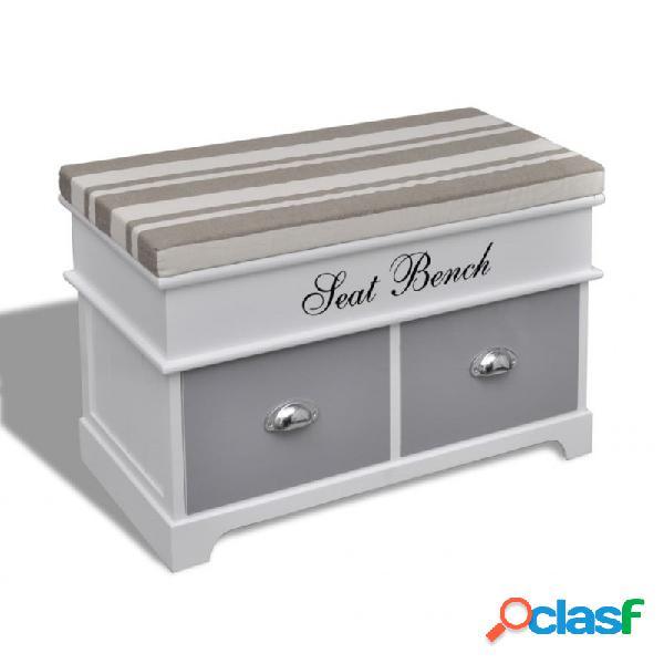 VidaXL - Banco baúl de madera y cojin gris, con cajones