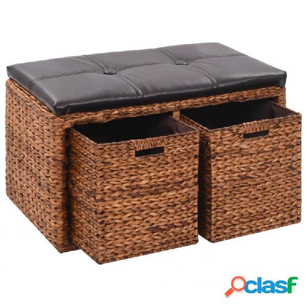 VidaXL - Banco con 2 cestas hierbaarina 71x40x42cmarrón