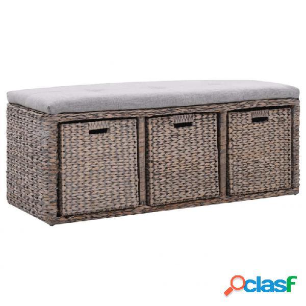 VidaXL - Banco con 3 cestas hierbaarina 105x40x42cm gris