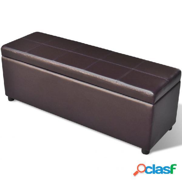 VidaXL - Banco largo de almacenamiento de madera marrón