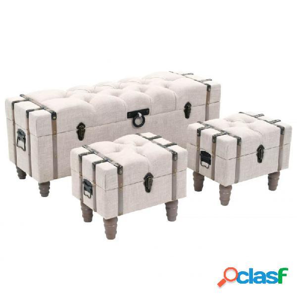 VidaXL - Bancos de almacenamiento 3 piezasadera y acero