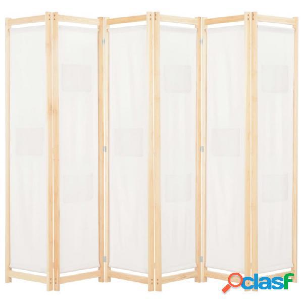 VidaXL - Biombo divisor de 6 paneles de tela color crema