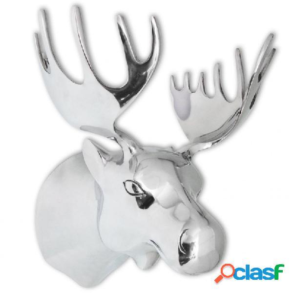 VidaXL - Cabeza de alce decorativa para pared aluminio