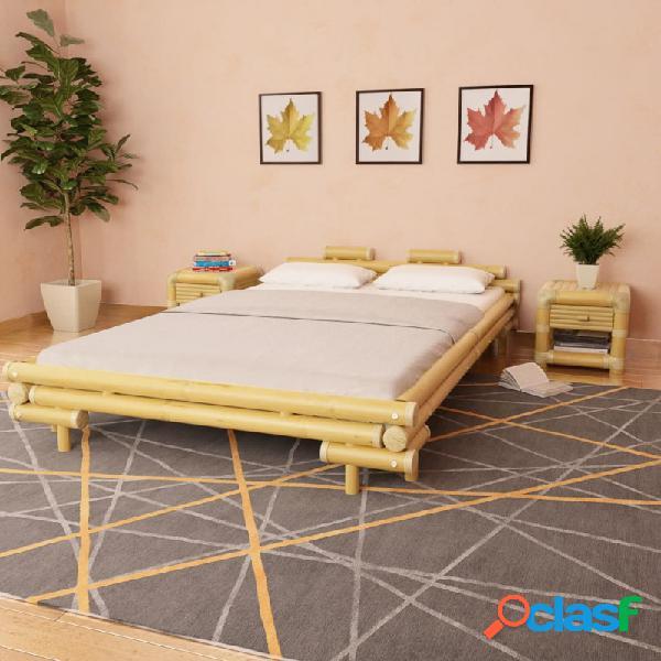 VidaXL - Cama con 2 mesitas de noche bambú natural