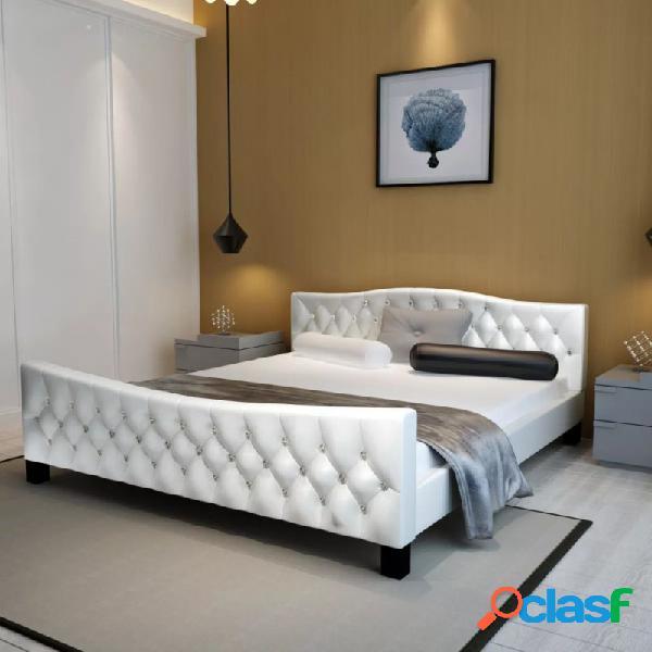 VidaXL - Cama con colchón de cuero sintético blanca