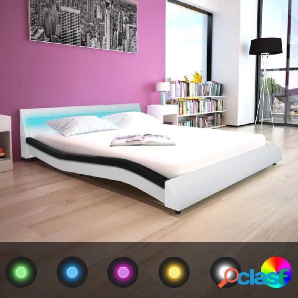 VidaXL - Cama con luz LED cuero sintético blanco y negro