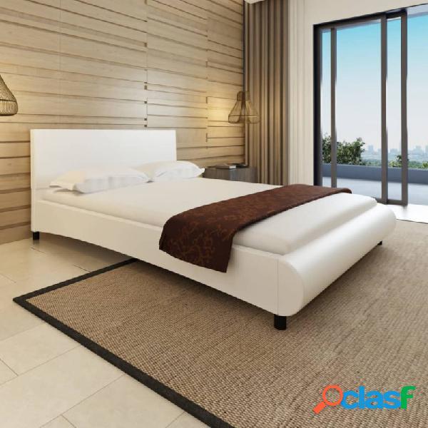 VidaXL - Cama de cuero sintético blanca con colchón