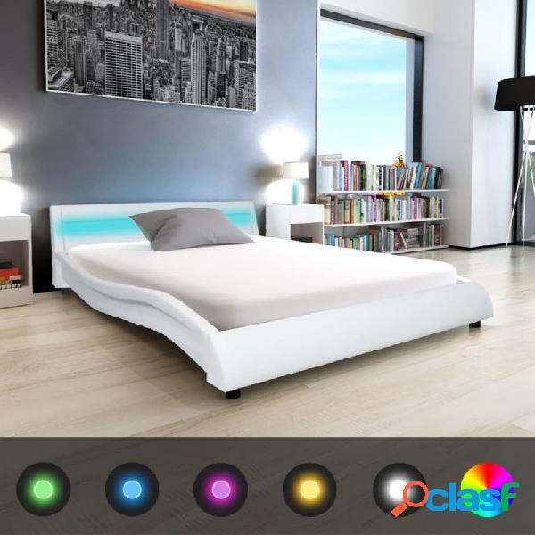 VidaXL - Cama de cuero sintético blanca con colchón y LED