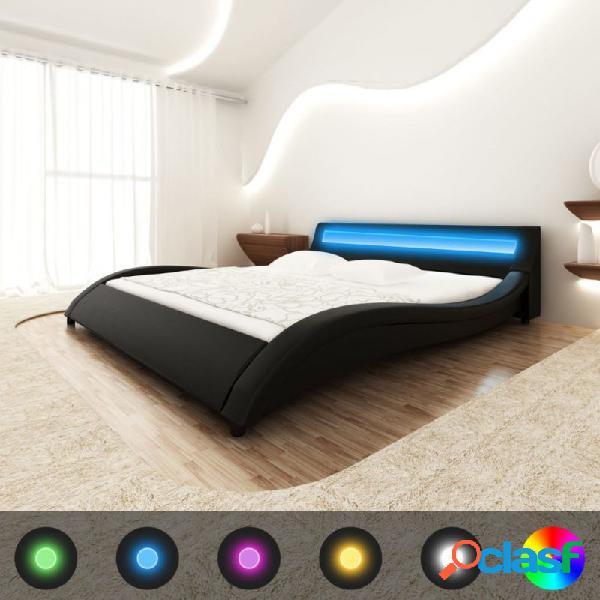VidaXL - Cama de cuero sintético negro con LED y colchón