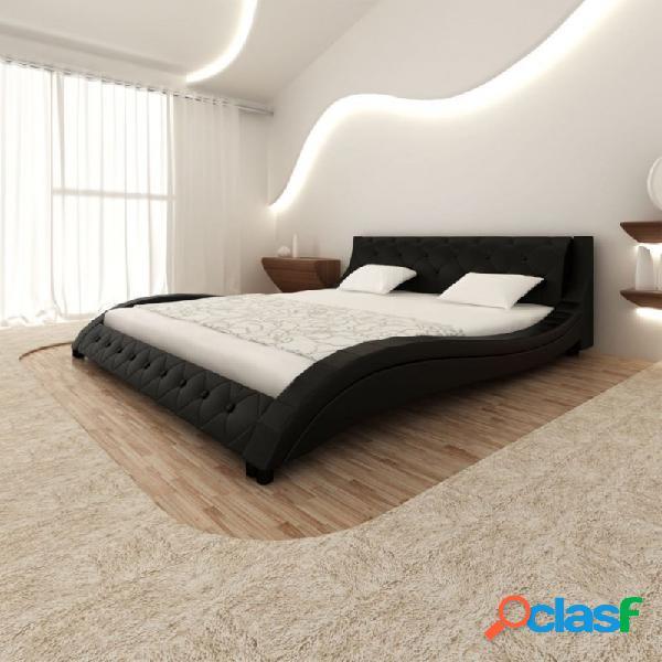 VidaXL - Cama de cuero sintético negro con colchón