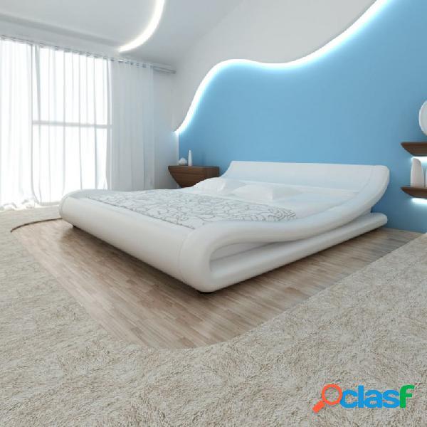 VidaXL - Cama doble de cuero blanco artificial con colchón