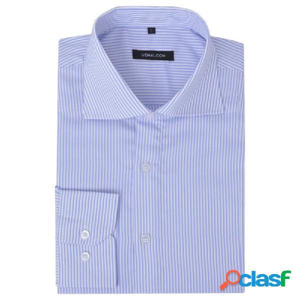 VidaXL - Camisa de vestir de hombre a rayas blanca y azul