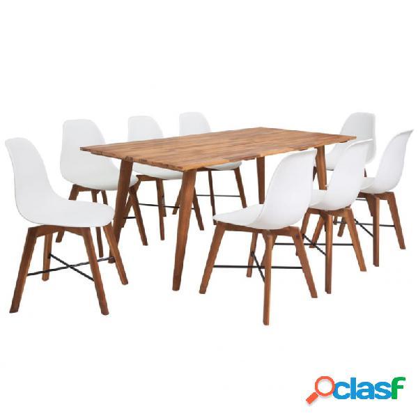 VidaXL - Conjunto de comedor de madera de acacia 9 piezas